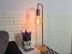 Lampe de table/bureau - Cadre en métal, base en bois, E27 Max 40W - Grandes décorations pour chevet, salon, bureau et dortoir. de la marque FADACI image 0 produit