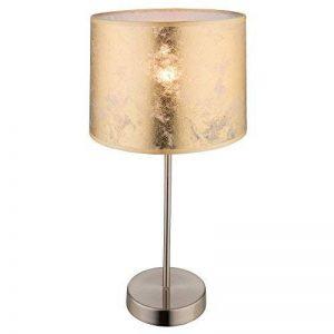 Lampe de table chevet chambre à coucher textile doré nickel mat éclairage salle de séjour de la marque Globo image 0 produit