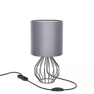 Lampe de table, Chevet minimaliste Plastique Lampe de bureau, Aglaia moderne Argent chromé 1Panier métallique style cage en tissu et argent avec un Ombre et 4W LED Lampe [Blanc chaud] de la marque Aglaia image 0 produit