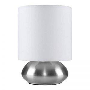 Lampe de Table, Chevet Touch Moderne. Variateur Touch intégré. Chrome Brossé/Nickel avec Abat-Jour en blanc de la marque MiniSun image 0 produit