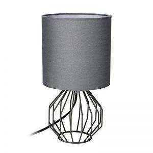 Lampe de table de chevet, tissu minimaliste lampe de bureau, Aglaia moderne Argent Métal chromé Panier Cage avec Style avec un Abat-jour en tissu Argenté et blanc chaud 4W Ampoule LED [] de la marque Aglaia image 0 produit