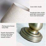 Lampe de table en tissu abat-jour E27 en bronze plaqué lampe de chevet pour l'étude de chambre à coucher de salon, conception de style traditionnel américain de la marque HALORI image 3 produit