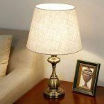 Lampe de table en tissu abat-jour E27 en bronze plaqué lampe de chevet pour l'étude de chambre à coucher de salon, conception de style traditionnel américain de la marque HALORI image 1 produit