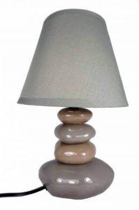 Lampe de table Galets Chocolat et Blanc - Chevet Abat jour gris de la marque Atmosphera image 0 produit