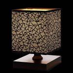 Lampe de table, HHome Plus moderne Simple Lampes de bureau Chambre de chevet et lampes de table avec Square Fabric Lamp Shade, Long câble avec Commutateur de ligne, Base en Bois - Noir de la marque HHome Plus image 1 produit