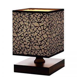 Lampe de table, HHome Plus moderne Simple Lampes de bureau Chambre de chevet et lampes de table avec Square Fabric Lamp Shade, Long câble avec Commutateur de ligne, Base en Bois - Noir de la marque HHome Plus image 0 produit