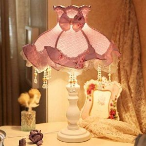 Lampe de table lampe de bureau salon chambre à cou Korean Table Style Chambre Lampe Lampe de chevet chaud Rural Tissu dentelle romantique violet clair Lampe de table européenne Chambre filles peuvent être Dimmed Lampe de bureau YANGFF-Lampes de table de l image 0 produit