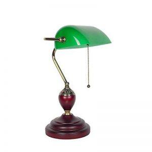 Lampe de table lampe de bureau salon chambre à cou Lampe de banquier traditionnelle, style antique Luminaire de bureau en verre vert émeraude, cordon de perles métalliques Attache de cordon, vis E27 Bouche YANGFF-Lampes de table ( taille : 23*42*12cm ) de image 0 produit