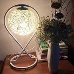 Lampe de table Lampe de chevet Simple moderne Creative Rotin - Chambre Art romantique Salon Décoration Décoration Lampe de table E27 * 1 - Ballon (Couleur : Blanc) de la marque XM lampe de table image 2 produit