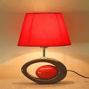Lampe de table Lampe de Table en Céramique Rouge - E27 Source de Lumière Tissu Abat-Jour Céramique Lampe de Bureau Art Lampe de chevet pour Chambre Salon (Couleur : Button switch) de la marque Lampe de bureau de l'hôtel image 0 produit