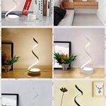 Lampe de table LED en spirale, lampe de bureau en aluminium chaud et romantique, lampe de lecture incurvée en acrylique, Lampe de table d'étude chambre salon minimaliste moderne, variateur de lumière 3 couleurs (noir, or, blanc) ( Color : Gold ) de la mar image 3 produit