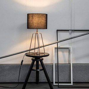 Lampe de table moderne avec armature en tissu et en cuivre, 1x E27max. 60W, métal/textile, Noir/Cuivre de la marque Lightbox image 0 produit