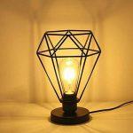 Lampe de table rétro rétractable industrielle HALORI salon lampe de chevet de chambre E27 éclairage décoratif en métal, abat-jour en forme de diamant (noir) de la marque HALORI image 1 produit
