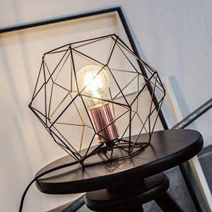 Lampe de table rétro rétro en treillis de cuivre vieilli, H 185 cm, Ø 22 cm, 1x E27 max. 60W, métal, noir / cuivre de la marque Lightbox image 0 produit