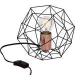 Lampe de table rétro rétro en treillis de cuivre vieilli, H 185 cm, Ø 22 cm, 1x E27 max. 60W, métal, noir / cuivre de la marque Lightbox image 2 produit