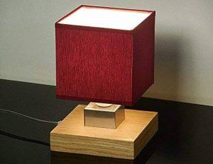 Lampe de table–Wero Design Vigo-031b Lampe de table, lampe nuit, lampe de table, Bois, abat-jour en tissu rouge bordeaux de la marque Wero Design image 0 produit