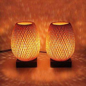 Lampe en bambou - Paire de Lampes de chevet en bambou éco-design. - 220-240 V - Timeislight - Tressage artisanal original et originel du Vietnam - lampe de chevet, Lampe en bambou, lampe à poser, lampe de table, lanterne, bambou, bois, rotin, tressé, rest image 0 produit