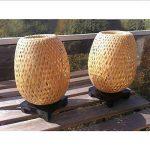 Lampe en bambou - Paire de Lampes de chevet en bambou éco-design. - 220-240 V - Timeislight - Tressage artisanal original et originel du Vietnam - lampe de chevet, Lampe en bambou, lampe à poser, lampe de table, lanterne, bambou, bois, rotin, tressé, rest image 1 produit