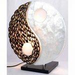 Lampe exotique motif Yin Yang nacre et bambou de la marque Artisanal image 4 produit