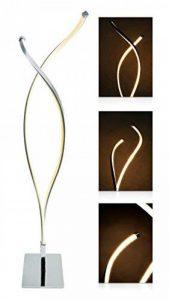 """'Lampe LED à intensité variable """"Lilly–Type: Lampe de table/lampe de table design moderne–Lumière chaude (Blanc chaud 3000K), 9W, acier inoxydable mat brossé, avec variateur et télécommande–Idéal comme lampe salon, table de chevet lampe et lampe image 0 produit"""