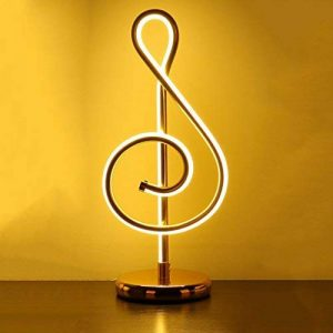 Lampe LED moderne simple Lampe de chevet HALORI, symbole de musique forme personnalité créative salle de séjour étude éclairage d'art (lumière Wram d'or) de la marque HALORI image 0 produit