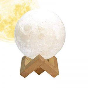 Lampe Lune 3D, FlexDin Veilleuse LED Lampe Lune nuit Tactile 2 Couleurs, Contrôle Tactile USB Rechargeable LED Lune Veilleuse de Chevet, avec Support en Bois (15CM) de la marque FlexDin image 0 produit