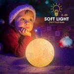 Lampe Lune 3D, FlexDin Veilleuse LED Lampe Lune nuit Tactile 2 Couleurs, Contrôle Tactile USB Rechargeable LED Lune Veilleuse de Chevet, avec Support en Bois (15CM) de la marque FlexDin image 3 produit
