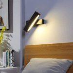 Lampe mural LED MAINLICHT 7W Dimmable Applique Décoratif éclairage Mural Lumieres interieur en aluminium + bois Rotation 320 degrés Couleur réglable Lèche-murs, Blanc de la marque BELLALICHT image 1 produit