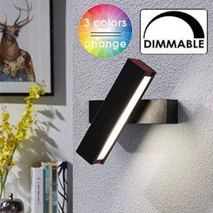 Lampe mural LED MAINLICHT 7W Dimmable Applique Décoratif éclairage Mural Lumieres interieur en aluminium + bois Rotation 320 degrés Couleur réglable Lèche-murs, Blanc de la marque BELLALICHT image 0 produit