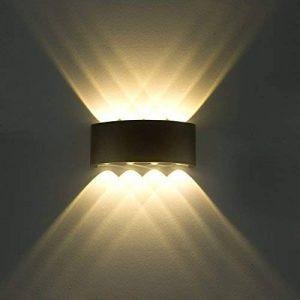 Lampe Murale LED 8W Moderne Appliques Murales IP65 Étanche Applique Luminaire En Aluminium Up Down Décoratif Spot Lumière Nuit Lampe pour Salon Chambre Hall Escalier Pathway (Blanc chaud) de la marque SOBROVO image 0 produit