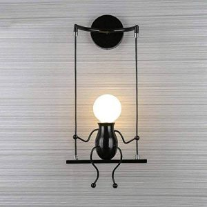 Lampe Murale Moderne Mode Applique Murale Créatif Simplicité Design Appliques pour Chambre d'enfant Couloir Décoratives Eclairage Lampe Douille E27*1 max. 40W , Noir de la marque HanLinLight image 0 produit