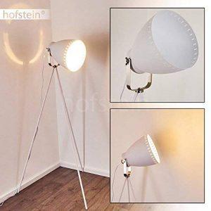 Lampe à pied Tanhua en métal blanc/nickel mat - Lampadaire pour salon - chambre à coucher - bureau - cette lampe a un interrupteur à pied sur le câble de la marque hofstein image 0 produit
