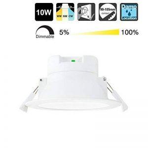 Lampe Plafonnier a LED Encastrable Plafond Encastrer Dimmable 10W Extra Plat Blanc Chaud Froid Ajustable 220V-240V Trou de Plafond Φ90-105MM IP44 Lot de 1 de Enuotek de la marque ENUOTEK image 0 produit