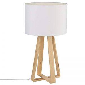 Lampe à poser avec pied en bois naturel - Style Nordique - Coloris BLANC de la marque Atmosphera image 0 produit