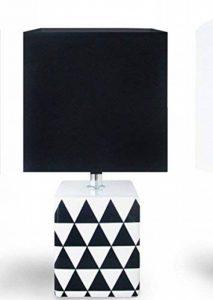 """Lampe à poser Noire et Blanche Cubique / Moderne / Design """"Pied Graphique"""" en céramique de la marque KONTARBOOR image 0 produit"""
