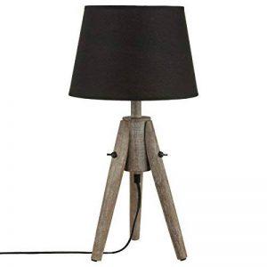 Lampe à poser - Trépied en bois effet cérusé et abat jour coloris NOIR de la marque Atmosphera image 0 produit