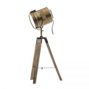 Lampe projecteur design vintage et rétro en métal style cuivre et trépied en bois. de la marque Atmosphera image 0 produit