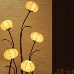 Lampe à sphère en Papier de riz ou mûrier avec abat-jour jaune rond travaillé à la main avec motif pot de fleurs ou lanterne Marron Lampe de table lampadaire lumière vers le haut en style orientale pour chambre à coucher de la marque Antique Alive Lampade image 3 produit