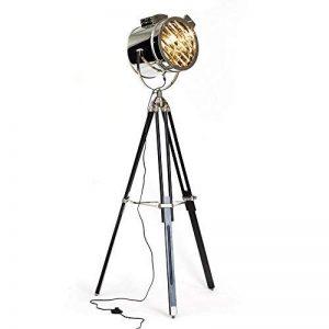 Lampe sur pied chromé cine au design industriel, trépied avec des jambes de bois, 1 ampoule e27 max. 60 w, hauteur 175 cm-diamètre : 45 cm gris métaL/lois de la marque NAUTICAL MART image 0 produit
