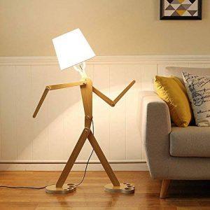 Lampe sur pied créative en forme de personnage, en bois nordique, 110cm, ampoule E27 (non incluse), Weiß 40.0W de la marque sweet sunshine image 0 produit