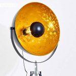 Lampe sur pied projecteur Saturn XXL – Lampadaire trépied en métal noir avec coupole dorée pivotante et pied télescopique – Luminaire design industriel chic compatible avec des ampoules LED de la marque hofstein image 2 produit