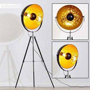 Lampe sur pied projecteur Saturn XXL – Lampadaire trépied en métal noir avec coupole dorée pivotante et pied télescopique – Luminaire design industriel chic compatible avec des ampoules LED de la marque hofstein image 0 produit