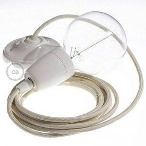 Lampe suspension en porcelaine câble textile Effet Soie Ivoire RM00 - 1 Mètres, Kit bricolage de la marque Creative-Cables image 0 produit