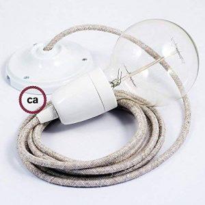 Lampe suspension en porcelaine câble textile Lin Naturel Neutre RN01 - 2 Mètres, Monté, Non de la marque Creative-Cables image 0 produit
