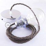 Lampe suspension pour Abat-jour câble textile Lin Naturel Marron TN04 - 2 Mètres, Noir, Kit bricolage, Non de la marque Creative-Cables image 3 produit