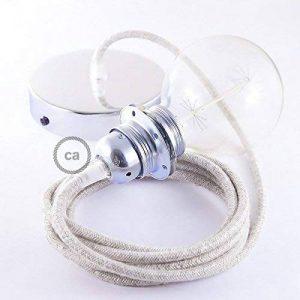 Lampe suspension pour Abat-jour câble textile Lin Naturel Neutre RN01 - 1 Mètres, Chromé, Kit bricolage, Non de la marque Creative-Cables image 0 produit