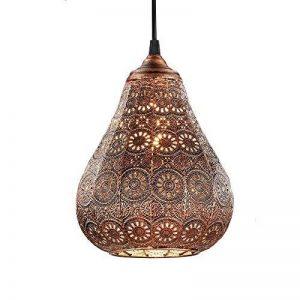 Lampe suspension Style Orientale en métal-Ø 19cm, en cuivre antique avec 4W Ampoule flamme LED de la marque LHG image 0 produit