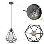 Lampe Suspension Vintage, Maxsal E27 Lustre Plafonniers (sans ampoule) Style Retro Industrielle (forme de cage) de la marque Maxsal image 3 produit