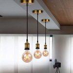 Lampe Suspension Vintage Retro, E27 Lustre Suspension Culot de Lampe Edison de Douille Avec de 1.2m Câble Rond Tressé-Cuivre Bronze de la marque SHINY STAR image 4 produit