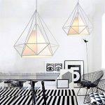 Lampes de Plafond Abat-Jour pour Lampe Suspension Lustre Cage en Fer Forme Diamant avec Douille Eclairage Style Industrielle (sans ampoule) (25cm, Support Blanc+Abat-jour Blanc) de la marque SWUK image 1 produit